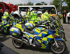 Welsh Police high visibility motorbikes. How bright. !!!!