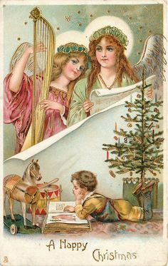Old Christmas Post Cards (Germany) —  Two angels  & boy reads under the Christmas tree  (1037x1639)