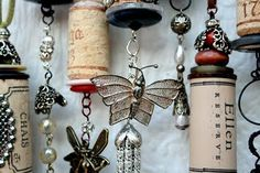 Things to do with all those corks, beads and broken wind chimes! Now if only Wolf would let me put them up!