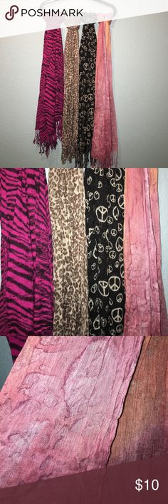 Bundle of 4 Scarves All 4 Scarves Gently Used-Good Condition Accessories Scarves & Wraps