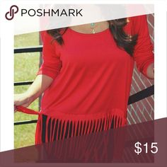 Red, Fringtastic Top, shophopes Stretchy, comfy, short-sleeved Tops