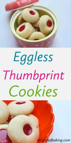 Eggless Thumbprint Cookies (Eggless Jam Cookies) - Buttery, Soft and tasty eggless cookies that can be eaten as a dessert or along with a cup tea! Egg Free Cookies, Jam Cookies, Biscuit Cookies, Biscuit Recipe, Yummy Cookies, Eggless Sugar Cookies, Eggless Desserts, Coconut Cookies, Baking Recipes