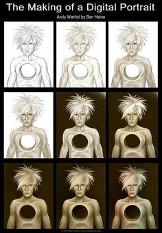Making of - Andy Warhol by BenHeine Andy Warhol Pop Art, Ben Heine, Lion Sculpture, Deviantart, Statue, Portrait, Headshot Photography, Portrait Paintings, Drawings