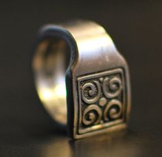 Tribal Signet Spoon Ring Stainless Steel Nearly Any by dremeWORKS, $12.00