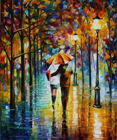 """Under The Red Umbrella — PALETTE KNIFE Figure Oil Painting On Canvas By Leonid Afremov - Size 24"""" x 30"""""""
