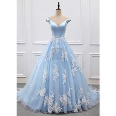 [267.00] Marvelous Satin & Tulle Off-the-shoulder Neckline A-line... ($533,992) ❤ liked on Polyvore featuring dresses, lace dress, lace a line dress, blue dress, off the shoulder a line dress and a line cocktail dresses