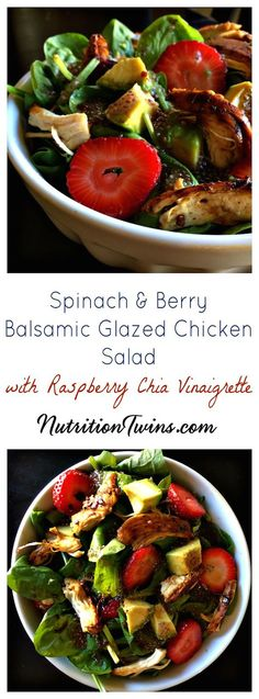 Spinach Berry Balsamic Glazed Chicken Salad with Raspberry Chia Vinaigrette | Sweet, Creamy & Satisfying | Only 320 Calories, 21 Grams Protein | For MORE RECIPES, fitness & nutrition tips please SIGN UP for our FREE NEWSLETTER www.NutritionTwins.com