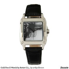 Black Fire II Perfect Square Black Leather Watch Designed by Artist C.L. Brown and available in a variety of styles on Zazzle. #watch #watches #fashion #accessories #artbyclbrown