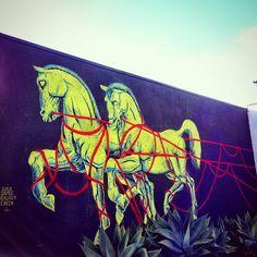 "Luca Zamoc, ""Only the Horses"" on Pico in Santa Monica, California, USA Wall Treatments, Graffiti Art, Santa Monica, Urban Art, Wall Murals, Moose Art, Horses, California Usa, Creative"