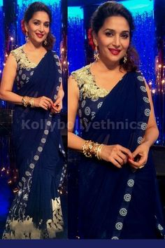 Bollywood Actress Madhuri Dixit Georgette Saree in Dark Blue color