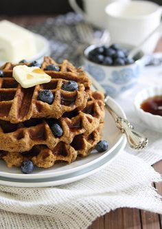 Ethereal-looking sweet potato waffles made with almond flour - wow. You can sub a little stevia for the maple syrup.