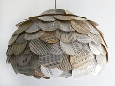 Round Flat Mixed Book Page Pendant Light  Paper by Zipper8Lighting