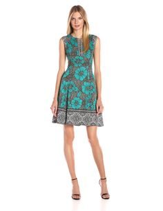 Maggy London Women's Texture Woodcut Scuba Fit and Flare