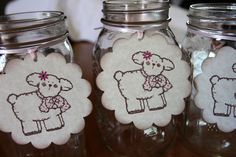 Set of 6 Extra Large Lamb Tags with Pink Flower - Baby Shower  - Birthday Party - Mason Jar Tags. $3.50, via Etsy.