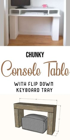 No room for a desk? This beautiful console table flips open to hide a laptop or a keyboard! You'll love it's narrow profile, hidden storage in the legs, and simple to build design. Free plans from Ana-White.com #anawhite #anawhiteplans #diy #diydesk #diyfurniture #consoletable