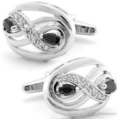 Onyx Eyes and Diamonds Cufflinks, Fine Men's Jewelry by Cufflilnksman