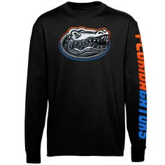 Mens Florida Gators Black Chrome Logo Long Sleeve T-Shirt