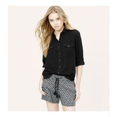 d8da4734d8dd LOFT Tall Button Pocket Utility Blouse (€40) ❤ liked on Polyvore featuring  tops