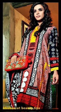Gul Ahmed lawn with black and pink color design
