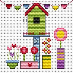 Funky Birdhouse cross stitch card kit by Fat Cat Cross Stitch.  Design 8.7cm x 8.3cm14 count white Aida The kit contains fabric, stranded Anchor embroidery threads, needle, easy to follow instructions and chart, card and envelope.  A brand new kit will be sent directly to you by Fat Cat Cross Stitch - usually within 2-4 working days © Fat Cat Cross Stitch