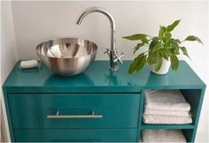 Would you believe this teal blue bathroom vanity was an IKEA Rast dresser in a former life? Ikea Hack Vanity, Ikea Hack Bathroom, Ikea Rast Dresser, Blue Bathroom Vanity, Small Bathroom Vanities, Boho Bathroom, Bathroom Ideas, Ikea Bekvam, Ikea Chair