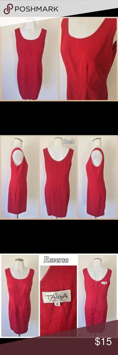 "Size 4  Red Taiga Paris Dress This red Taiga Paris dress, size 4, is in good pre-owned condition. Has 3 very faint spots throughout, but is dry clean only.""Reverse"" pics are of the dress inside out; it isn't for reversible wear. Material: 50% viscose, 50% polymicrofiber Care: Dry Clean Measurements(flat): -Length (shoulder, down): 33"" -Waist: 14.5"" -Arm-arm: 16.5""  *My model's measures: Neck: 13"" Bust 30"" Height (neck down): 59""  *If there's black dots in the photo, it's my lens, sorry…"