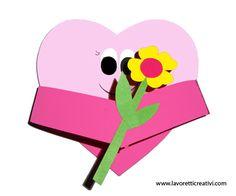 Lavoretto cuore animato con fiore in festa della mamma