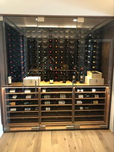 Glass enclosed wine cabinet w climate control, wine cradles, black walnut lower racking, led lighting Just Wine, Climate Control, Wine Wall, Wine Collection, Wine Cabinets, Glass Shower Doors, Wine Storage, Wine Cellar, Storage Solutions