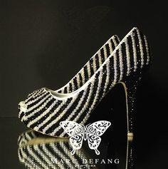 Jet black crystal & Ivory pearl stripes. Luxury peep toe Platform Heels!