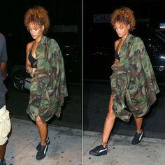Rihanna wearing Matthew Dolan Fall 2015 oversized camo jacket, Puma by Rihanna suede creepers