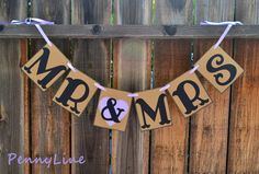 Mr and Mrs wedding signs Rustic sign Banner Garland  by PennyLine www.pennyline.etsy.com