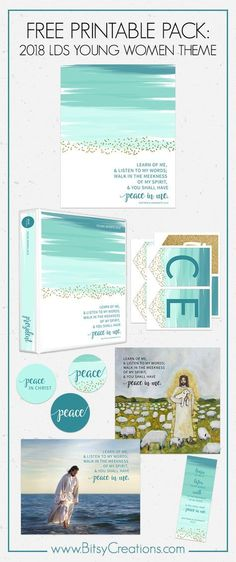 FREE LDS Young Women Printables - Peace in Christ - 2018 LDS Mutual Theme - BitsyCreations