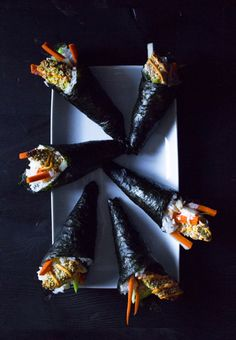 Crunchy Avocado Hand Rolls with Sriracha Mayo | Vegan and Gluten-Free