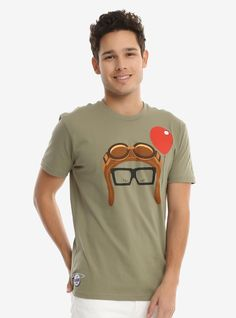 Live out your love story and greatest adventure in this adorable tee from Disney Pixar's Up that features Carl's face! It's got a love heart on the sleeve, and Ellie's Grape Soda badge at the hip.    A BoxLunch Exclusive!    Get the matching  Ellie tee !    100% cotton  Wash cold; dry low  Imported  Listed in unisex sizes