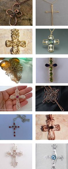 wire wrapped cross pendants