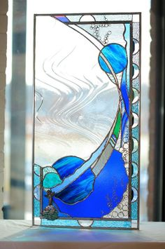 delphi stain, glass art, glass window, glasses, glass panel, blue, lone mermaid, stain glass, stained glass