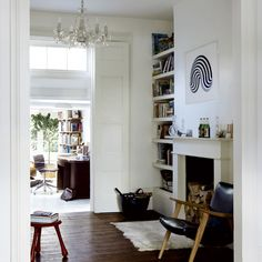 Living room | Tasteful period terrace house tour | housetohome.co. Alcove shelving no cupboard.