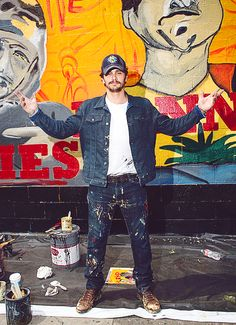 "Handsome James Franco painted a mural of ""This is The End"" on Melrose Avenue in Los Angeles, July 2013"