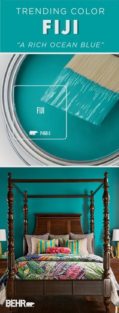 Get lost in the deep blue hue of the Behr Paint Color of the Month: Fiji. A bright shade of turquoise, this modern hue makes a statement when paired with this dark wood furniture in this master bedroom. Behr Paint Colors, Kitchen Paint Colors, Paint Colors For Home, House Colors, Small Bedroom Paint Colors, Bright Paint Colors, Bright Bedroom Colors, Turquoise Paint Colors, Turquoise Walls