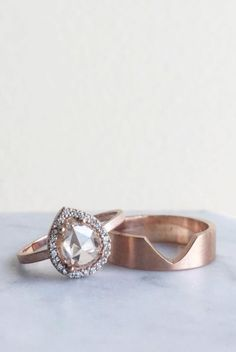 Blush Pink Rose Cut Diamond Ring | LexLuxe on Etsy #alternativebride #engagementring