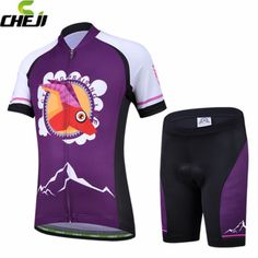 CHEJI Purple Breathable Ropa Ciclismo  Kid Cycling Bike Bicycle Short Sleeve Jersey + Shorts Suit M-XXL #Affiliate