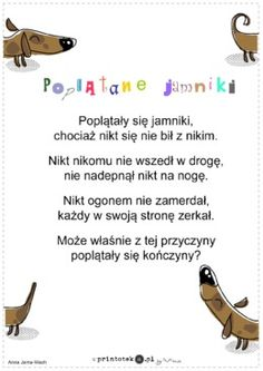 Poplątane jamniki - wiersz - Printoteka.pl Kids Learning, Schools, Ballerina, Hand Lettering, Poems, Baby, Speech Language Therapy, Therapy, Literatura