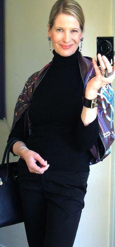 'Le Laboratoire du Temps' Hermès scarf as a shrug