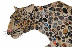 collage by Peter Clark.. Love this. Kids Collage, Collage Artists, Newspaper Drawing, Magazine Collage, Cat Magazine, Jaguar Animal, Mixed Media Sculpture, Pop Art Illustration, Animal Paintings