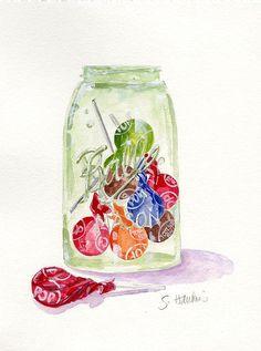 Tootsie Pops Jar, painting by Sheryl Hetherly Hawkins