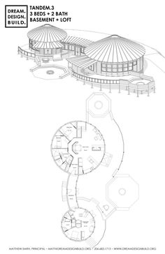 Rondavel home for two families: Brian Munjodzi lives on a small farm in Zimbabwe. His request to Jonno is to improve his farmhouse. Home Design Floor Plans, House Floor Plans, Cob House Plans, Round House Plans, Yurt Home, Yurt Living, Silo House, Dome House, Concept Architecture