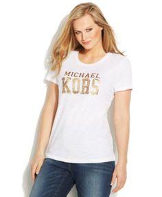 Michael Michael Kors Plus Size Foil-Graphic Logo Tee