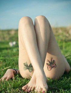 Love thigh tattoos bows cute