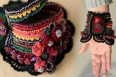 Bulgarian Rug Crochet Cuff With Beads by ellisaveta on Etsy