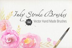 144 Vector Inky Stroke Brushes by LarysaZabrotskaya on Creative Market